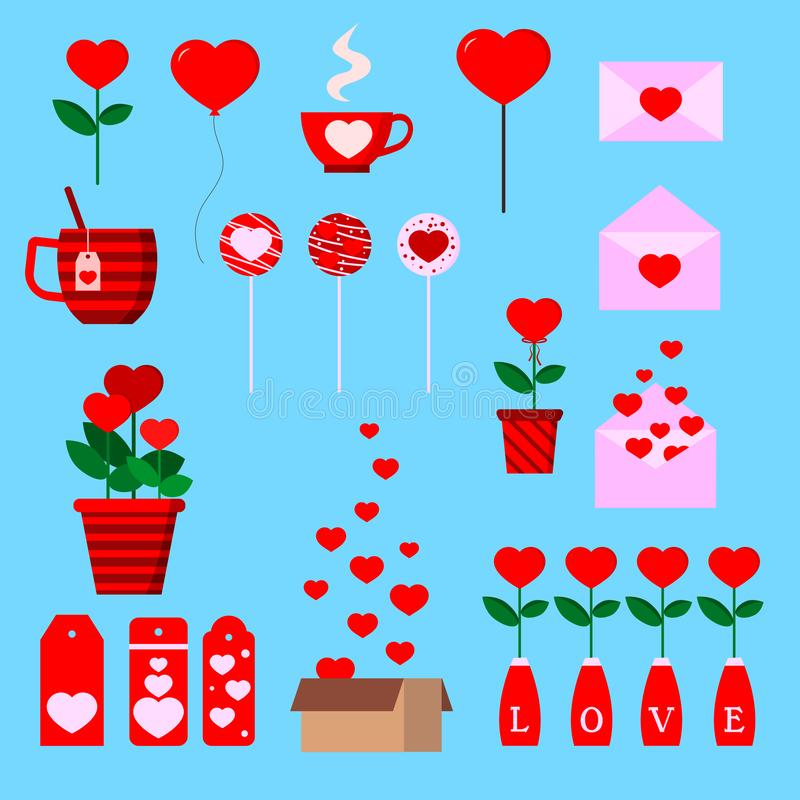 Set of isolated romantic icons with hearts vector illustration. Set of isolated romantic icons with hearts: box, letter, flower pot, cup, lollipopes, ballon vector illustration