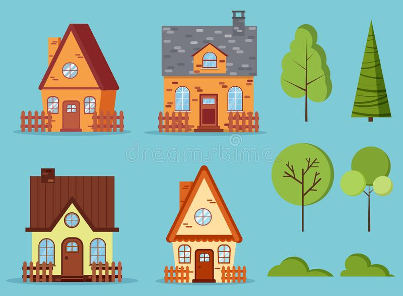 Set of isolated rural farm red brick and yellow houses with attic, chimney, fences vector illustration