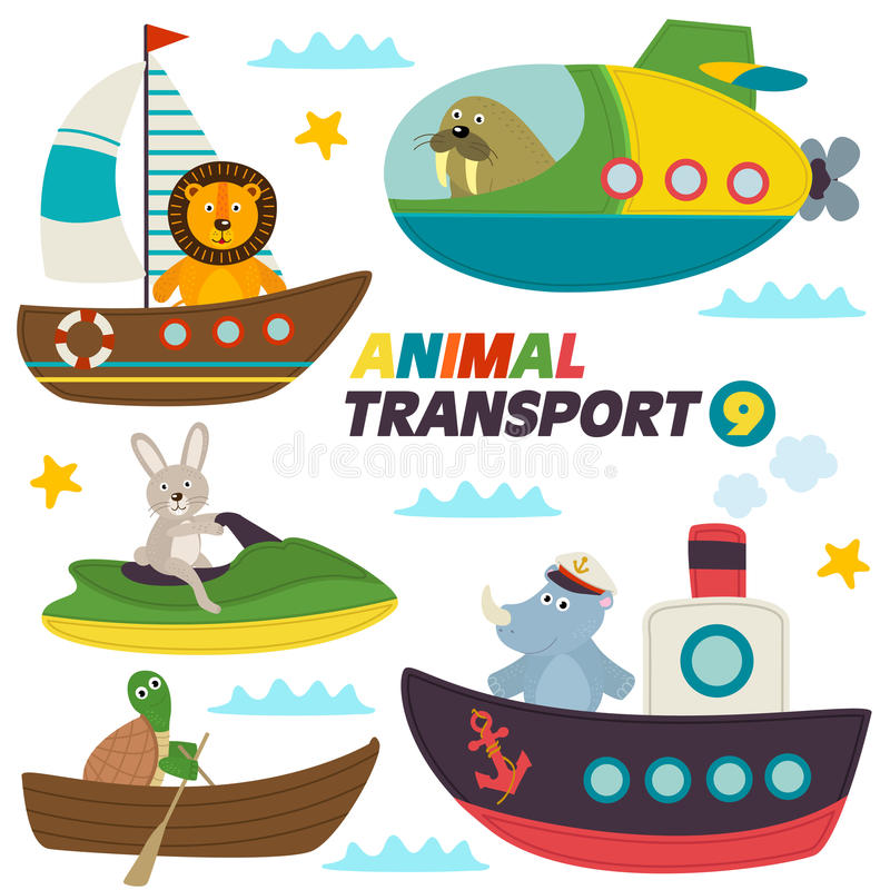 Set of isolated sea transports with animals stock illustration