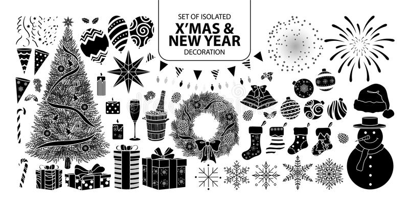 Set of isolated silhouette decoration for Christmas and New year. Vector illustration in white outline and black plane. royalty free illustration