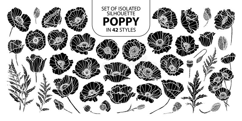 Set of isolated silhouette poppy in 42 styles. Cute hand drawn vector illustration in white outline and black plane. vector illustration