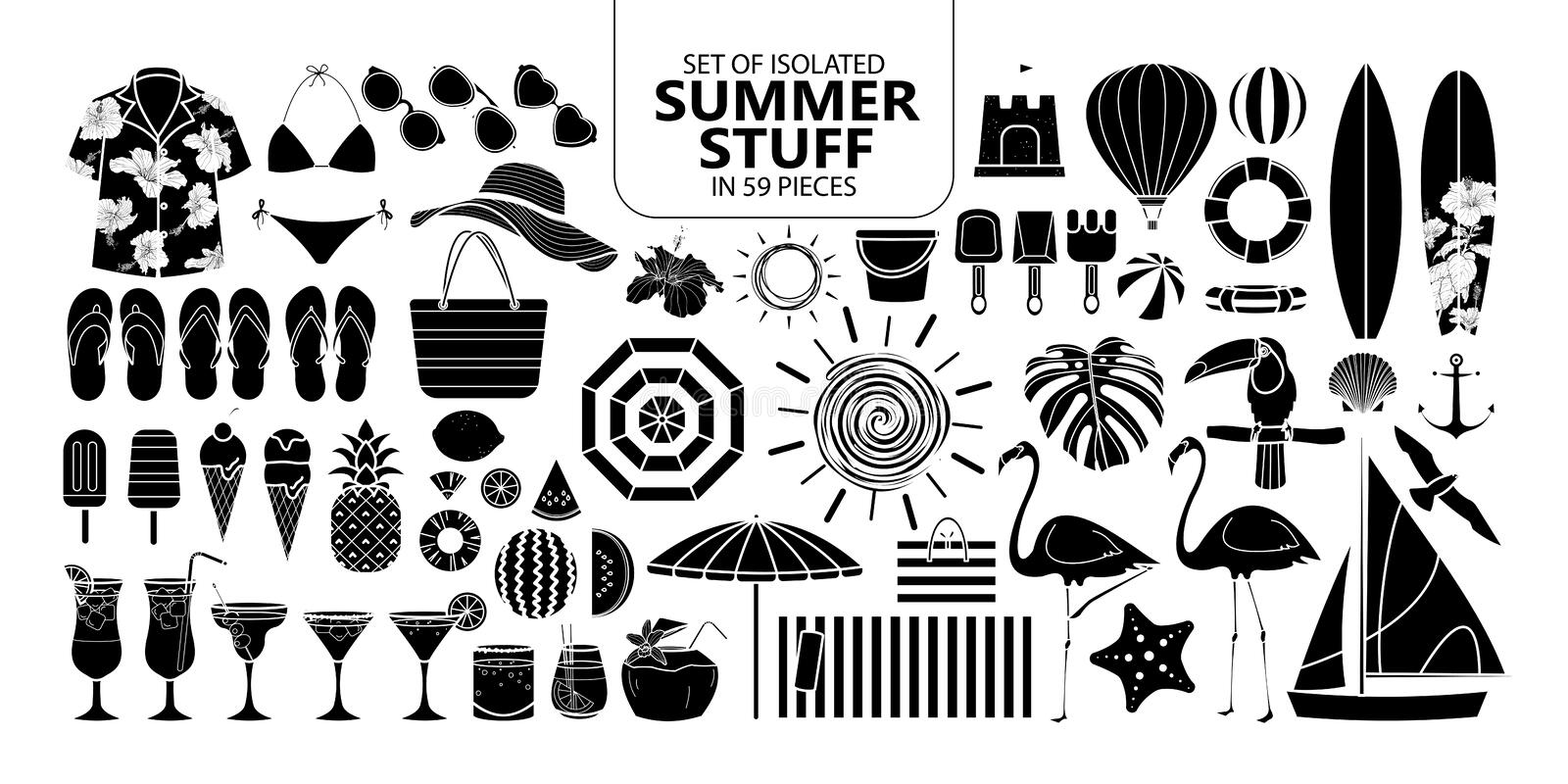 Set of isolated silhouette summer stuff in 59 pieces. vector illustration
