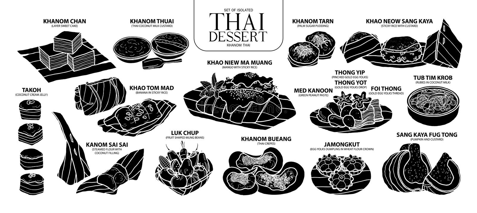 Set of isolated silhouette Thai dessert in 14 menu. Cute hand drawn food vector illustration in white outline and black plane. royalty free illustration