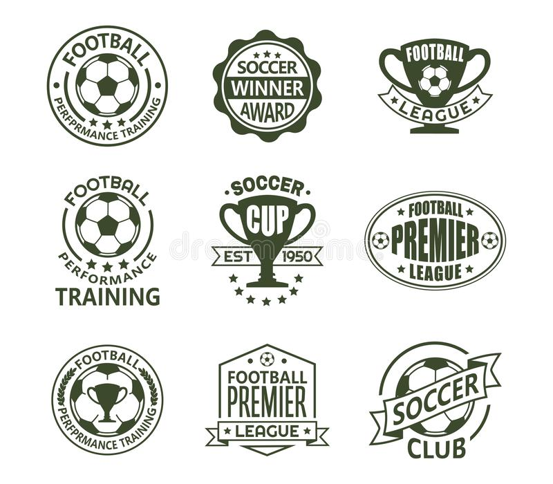 Set of isolated soccer or european football signs royalty free illustration