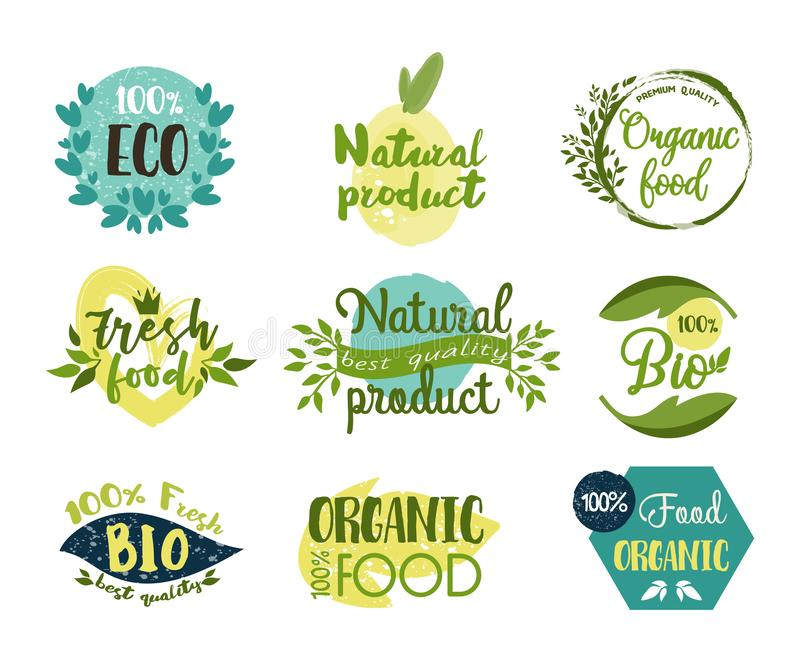 Set of isolated labels, stickers for organic food stock illustration