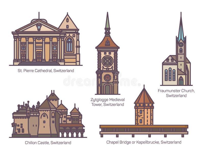 Set of Switzerland architecture landmarks in line. Set of isolated Switzerland or European architecture landmarks for tourism. Chapel bridge or Kapellbrucke stock illustration
