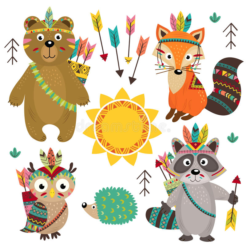 Set of isolated tribal animals part 1 vector illustration