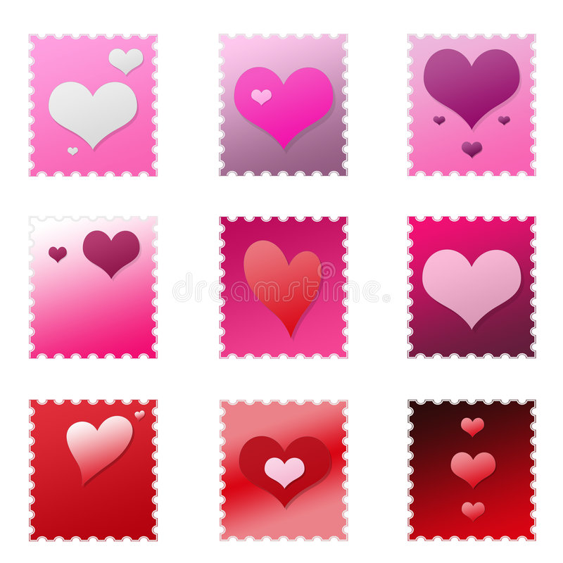 Set of Isolated Valentine Stamps stock illustration