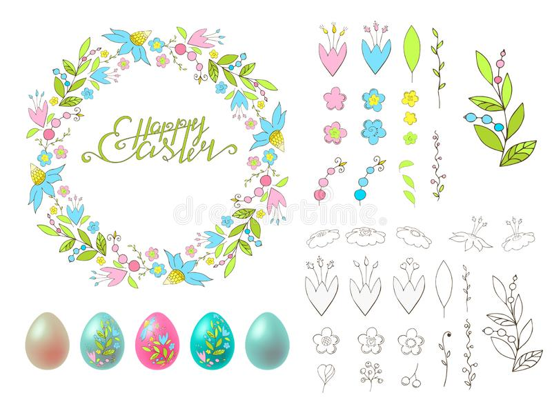 Set of isolated vector elements on a white background. Happy Easter. Lettering. Floral wreath. Painted colourful eggs royalty free illustration
