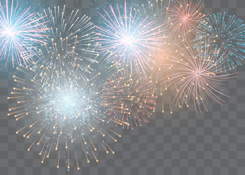 Set of isolated vector fireworks on a transparent background vector illustration