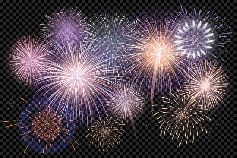 Set of isolated vector fireworks on a transparent background. vector illustration