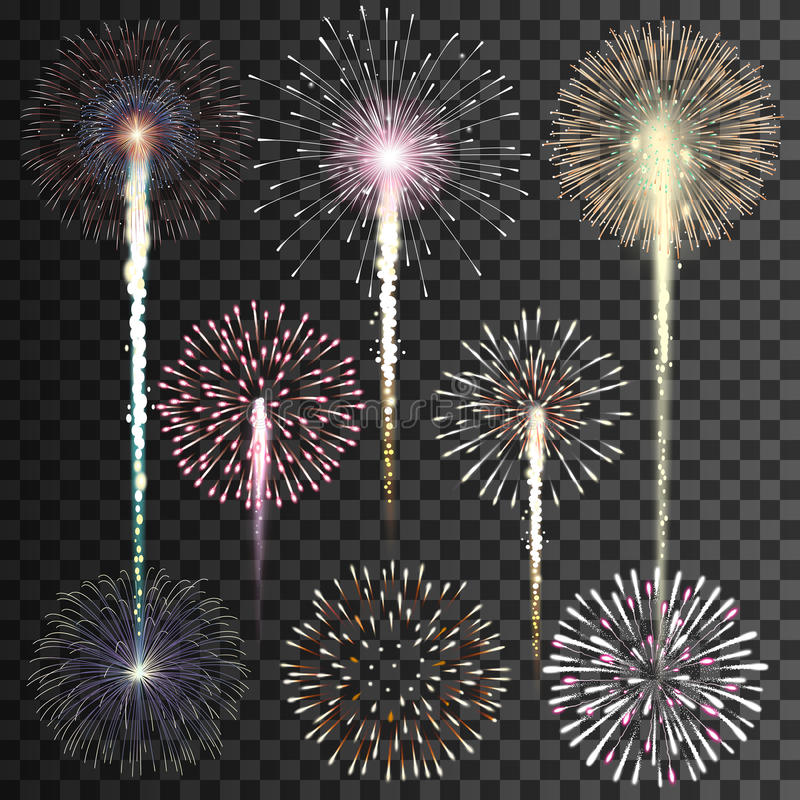 Set of isolated vector fireworks on transparent background royalty free illustration