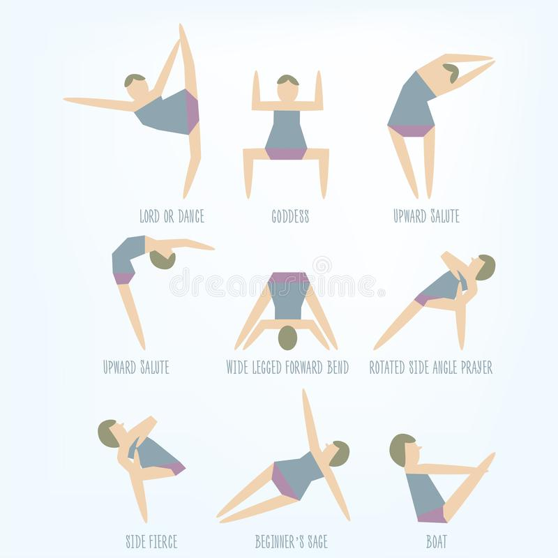 Set of isolated vector yoga poses. Young women instructor doing royalty free illustration