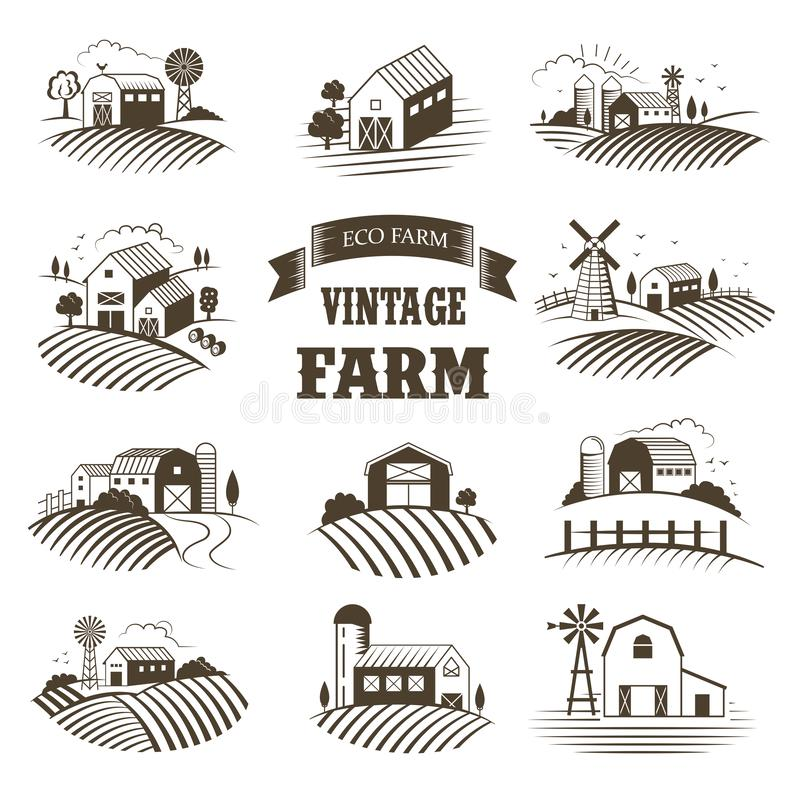 Set of isolated vintage eco farms, landscapes, labels for natural farm products. Farm House concept collection. Retro stock illustration