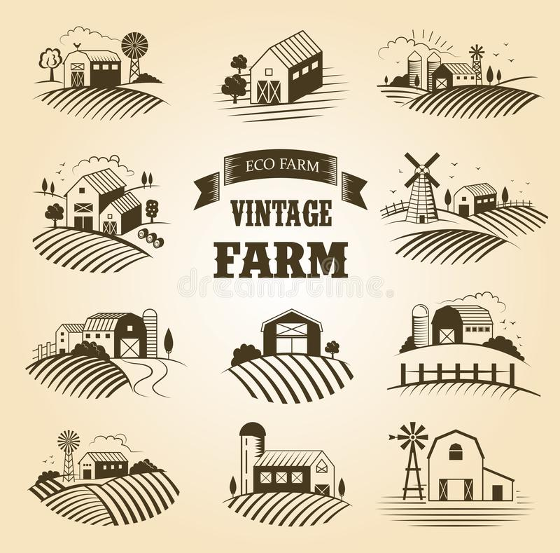 Set of isolated vintage eco farms, landscapes, labels for natural farm products. Farm House concept collection. Retro royalty free illustration