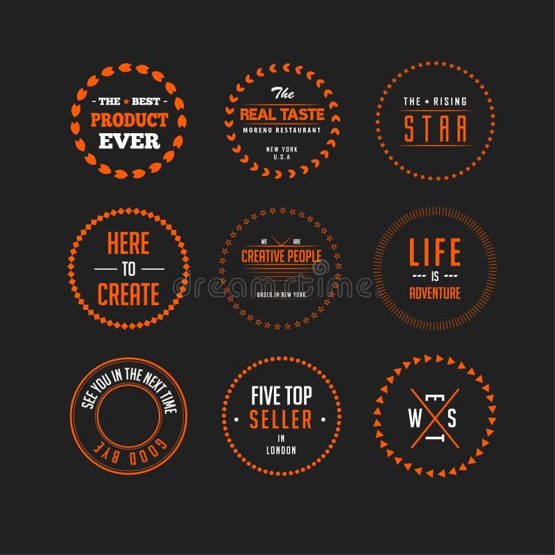 Set of isolated vintage logo, badge, emblem or logotype elements for any logo design or logotype vector illustration