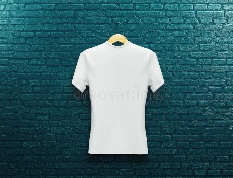 Set of isolated white t-shirt or realistic apparel. 3d rendering. blank or empty, clear cotton t shirt. Man and woman uniform mock. White t-shirt on a blue wall stock illustration