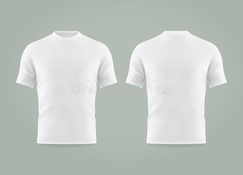 Set of isolated white t-shirt or realistic apparel vector illustration