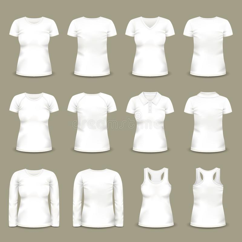 Set of isolated white woman t-shirts and tunic. Short and long sleeve u-neck dress for female. Can be used for clothing and fashion theme stock illustration
