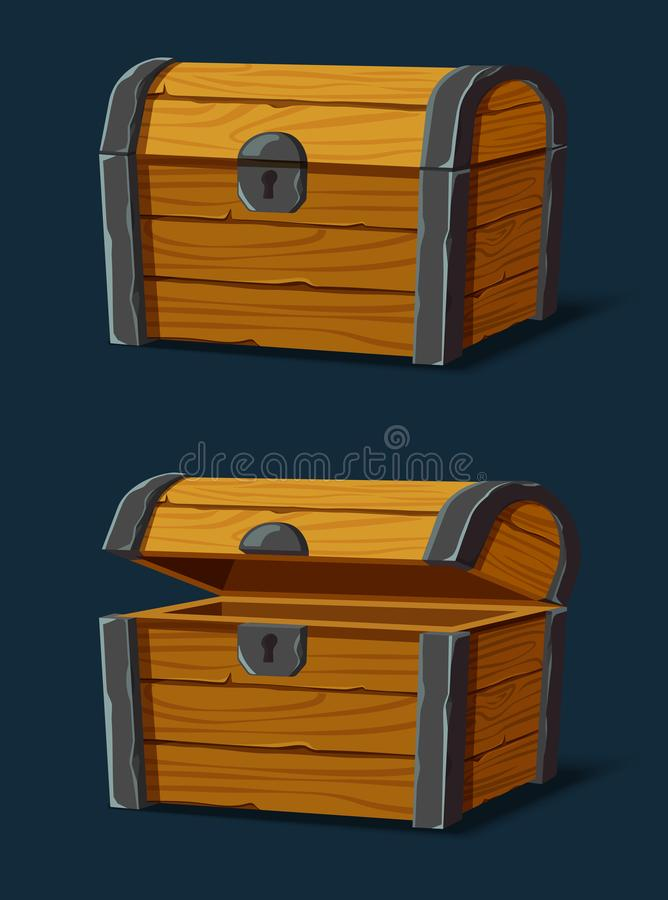 Set of isolated wooden chest or trunk,pirate crate. Opened pirate chest and closed wooden crate, set of isolated isometric dower for gold and treasure, container royalty free illustration
