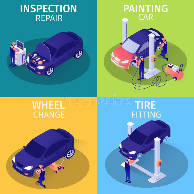 Set of Isometric Advertising Cards for Car Service vector illustration