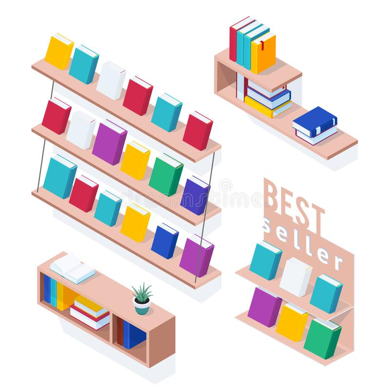Set of isometric bookshelves. stock illustration