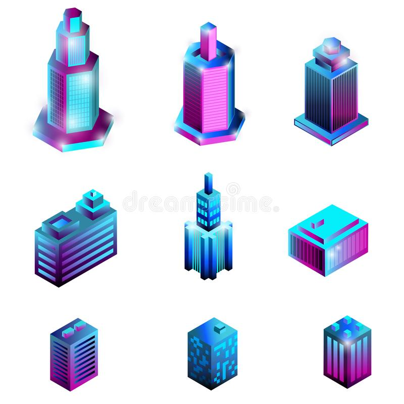Set isometric budynki odizolowywający na białym tle ilustracji
