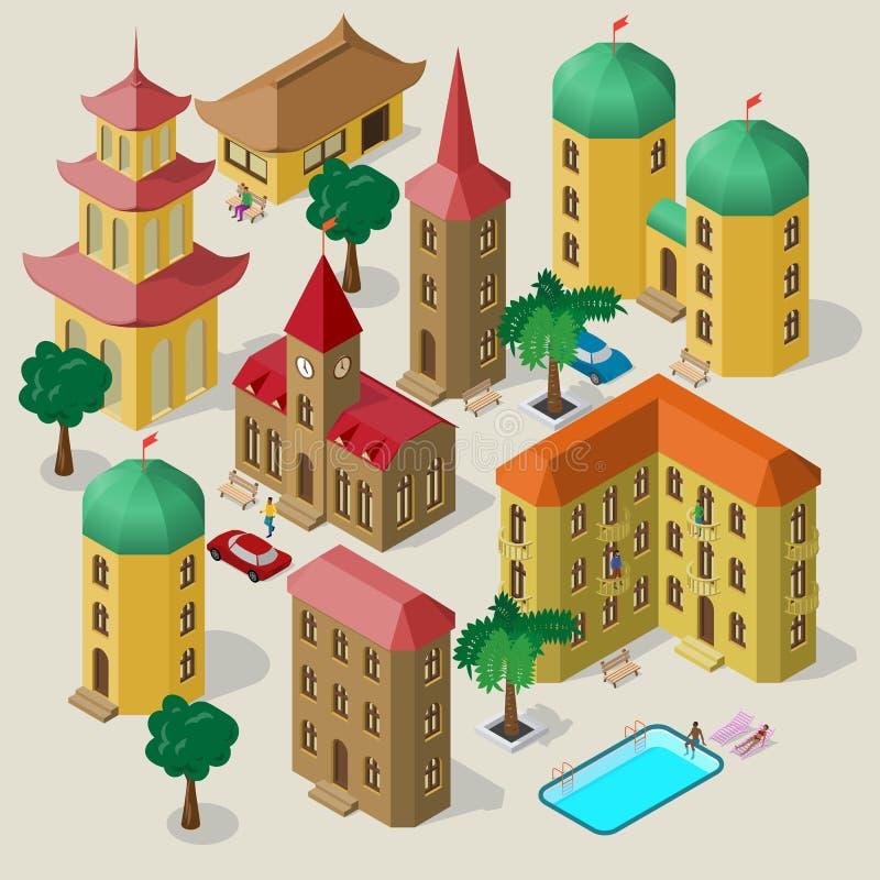 Set isometric budynki z ławkami, drzewami, samochodem, pływackim basenem i ludźmi, royalty ilustracja