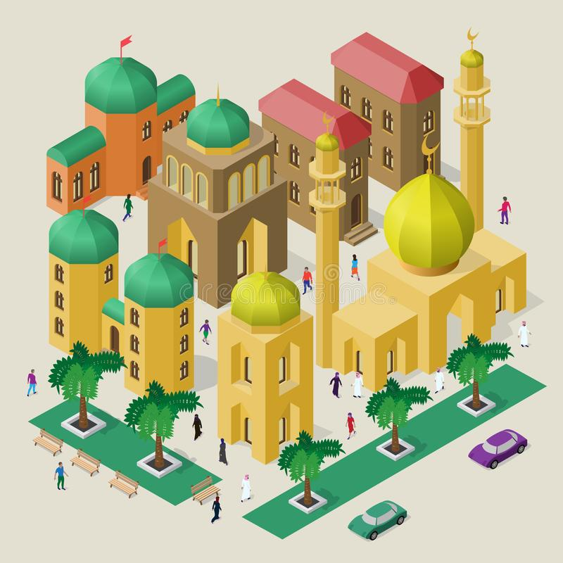 Set of isometric buildings, mosque, minarets, benches, trees, cars and people. Vector cityscape in oriental style vector illustration