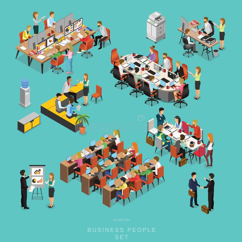 Set of ISOMETRIC BUSINESS PEOPLE TEAMWORK MEETING in office, share idea, infographic vector design. Set 2 stock illustration
