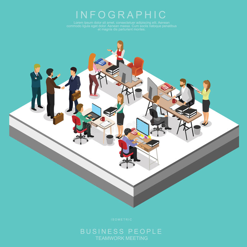 Set Of Isometric Business People Teamwork Meeting In Office vector illustration