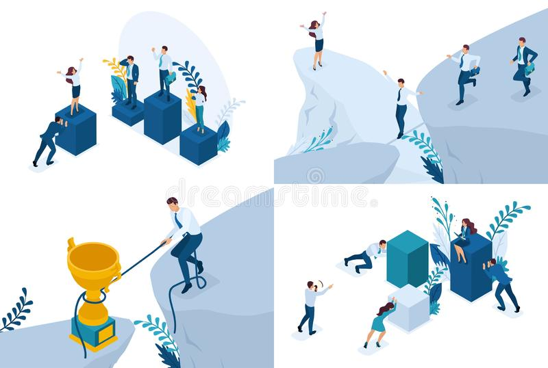 Set Isometric business solutions, Competition, contest, Receive a prize. Vector illustration for creating websites and mobile vector illustration
