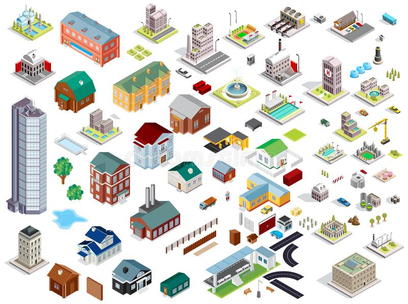 Set of isometric city buildings. Town district landscape with urban infrastructure streets and houses. stock illustration