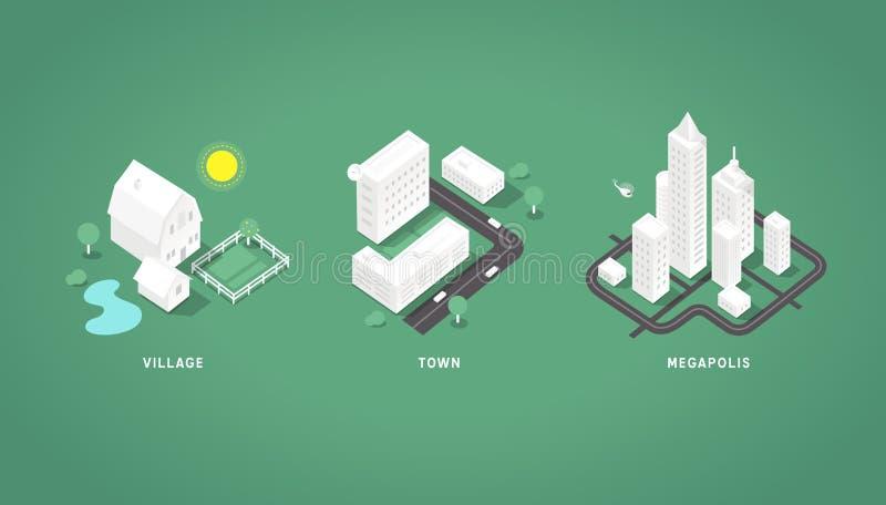 Set of the isometric city buildings. Village town megapolis. 3d isometric symbols royalty free illustration