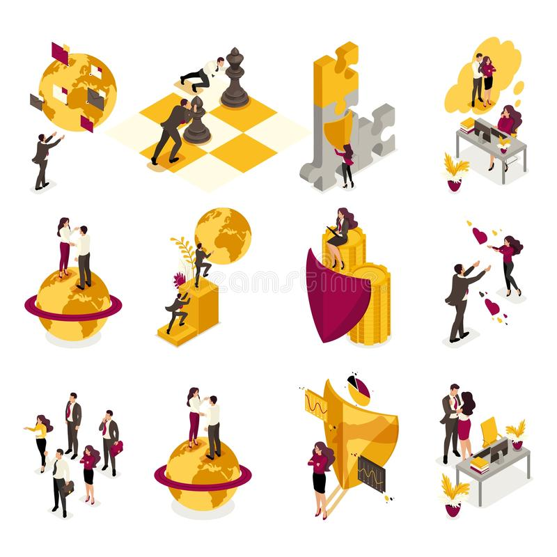 Set Isometric of the concept of business processes for world domination, the recruitment of staff for the command. For website vector illustration