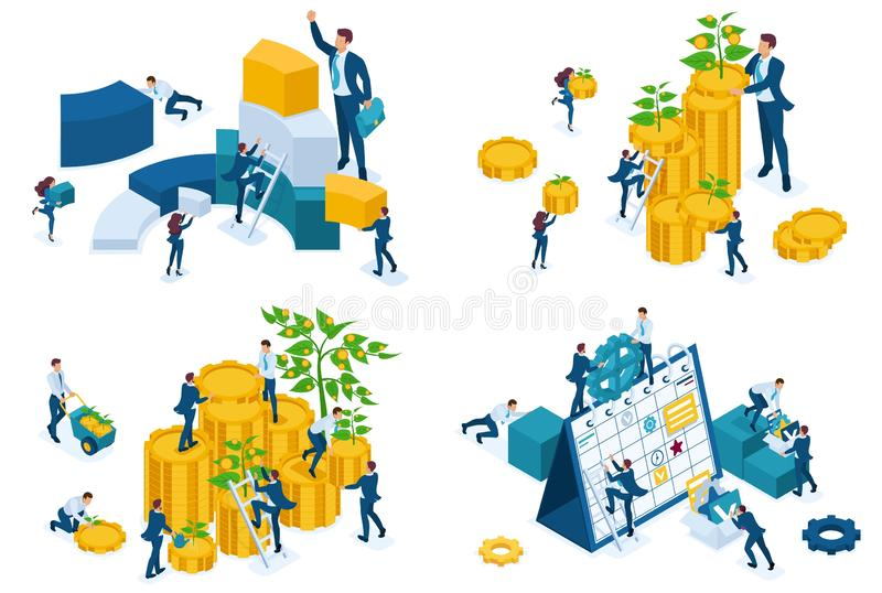 Set isometric concept Businessmen invest money, grow money, are engaged in planning and analysis. To create web applications stock illustration