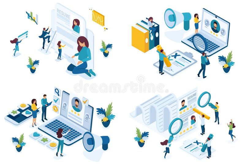 Set isometric concept job search applicant, resume writing, HP Manager, recruiters looking for employees. For vector illustration