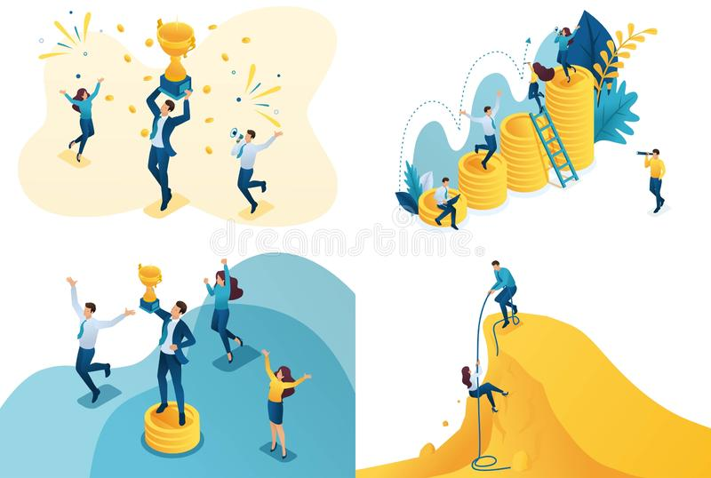 Set isometric concept of movement at success. Modern illustration concepts for website and mobile website development stock illustration
