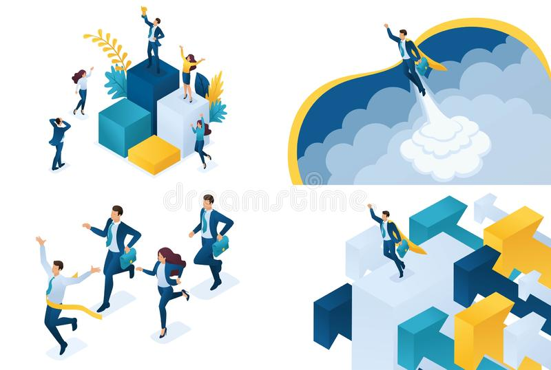 Set isometric concept of successful business. Modern illustration concepts for website and mobile website development royalty free illustration