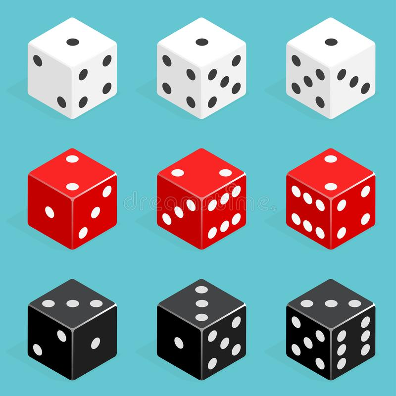Set of isometric dice combination. Red, white and black poker cubes vector isolated. royalty free illustration