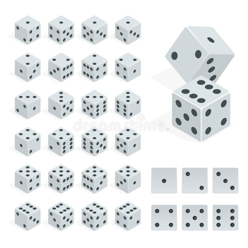 Set of isometric dice combination. White poker cubes vector . vector illustration