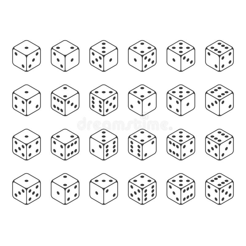 Set of isometric dice vector. royalty free stock photo