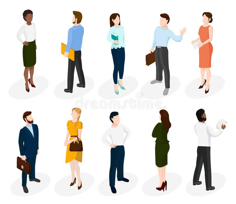 Set of isometric different people. vector illustration