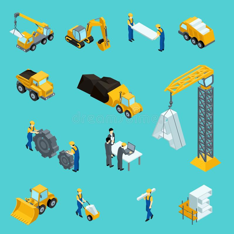 Set Isometric icons for construction workers, crane, machinery, power, transport, managers, laptop, clothes. Vector illustration vector illustration