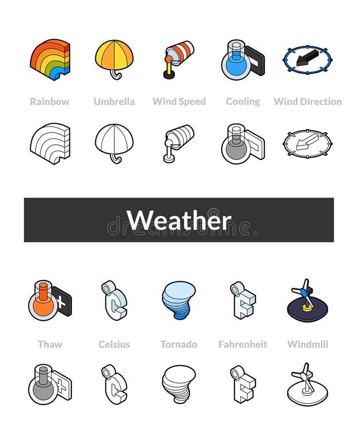 Set of isometric icons in otline style, colored and black versions stock illustration