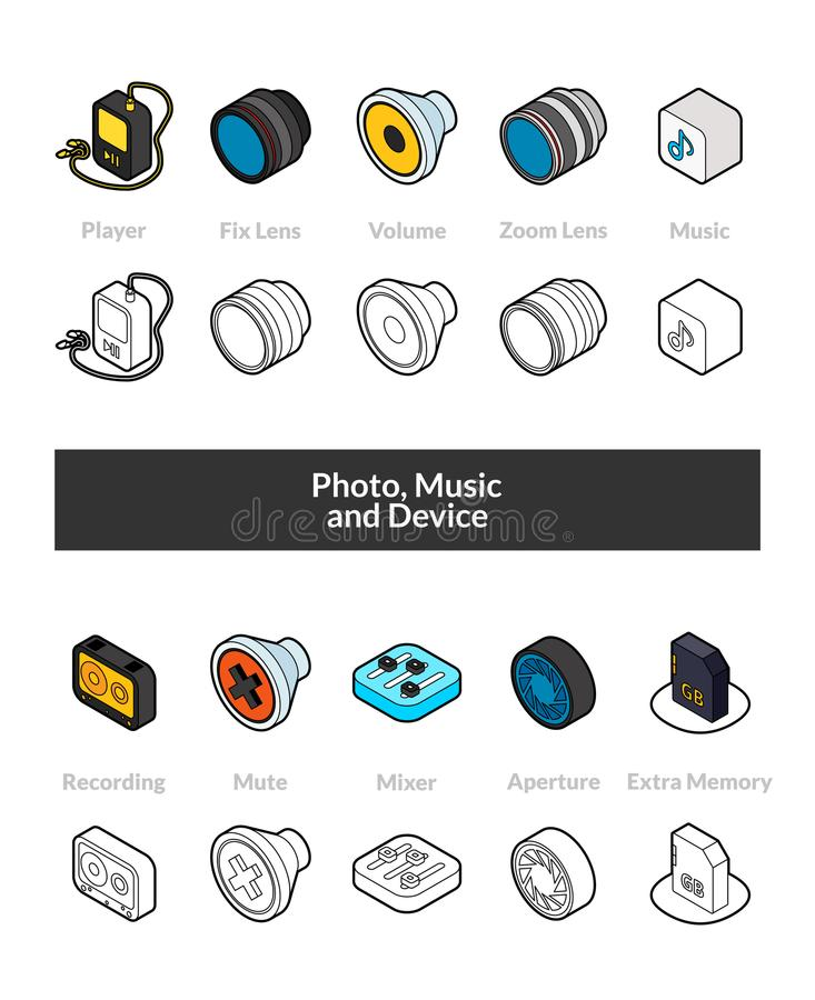 Set of isometric icons in otline style, colored and black versions. Vector symbols - Photo music and device collection vector illustration