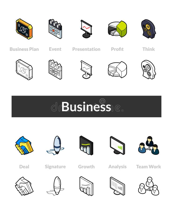 Set of isometric icons in otline style, colored and black versions vector illustration