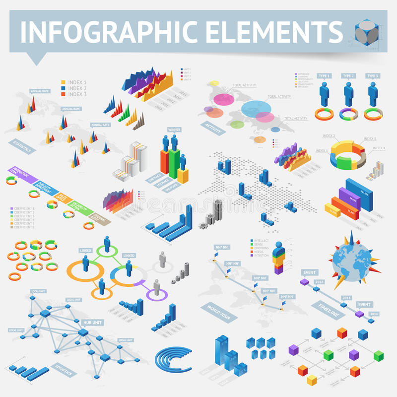 Set of isometric infographics design elements. Isometric style infographics with data icons, world map charts and design elements. Vector illustration