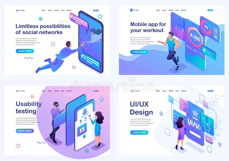 Set isometric landing pages, concept of user interface development, testing and use by users. Mobile application for sports vector illustration