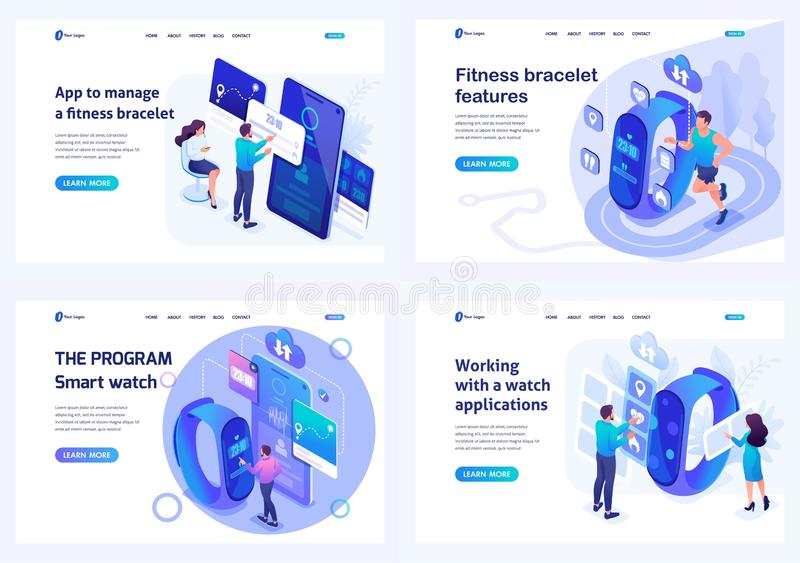 Set isometric landing pages, mobile application testing concepts for smart watches and fitness wristband. For website and mobile royalty free illustration
